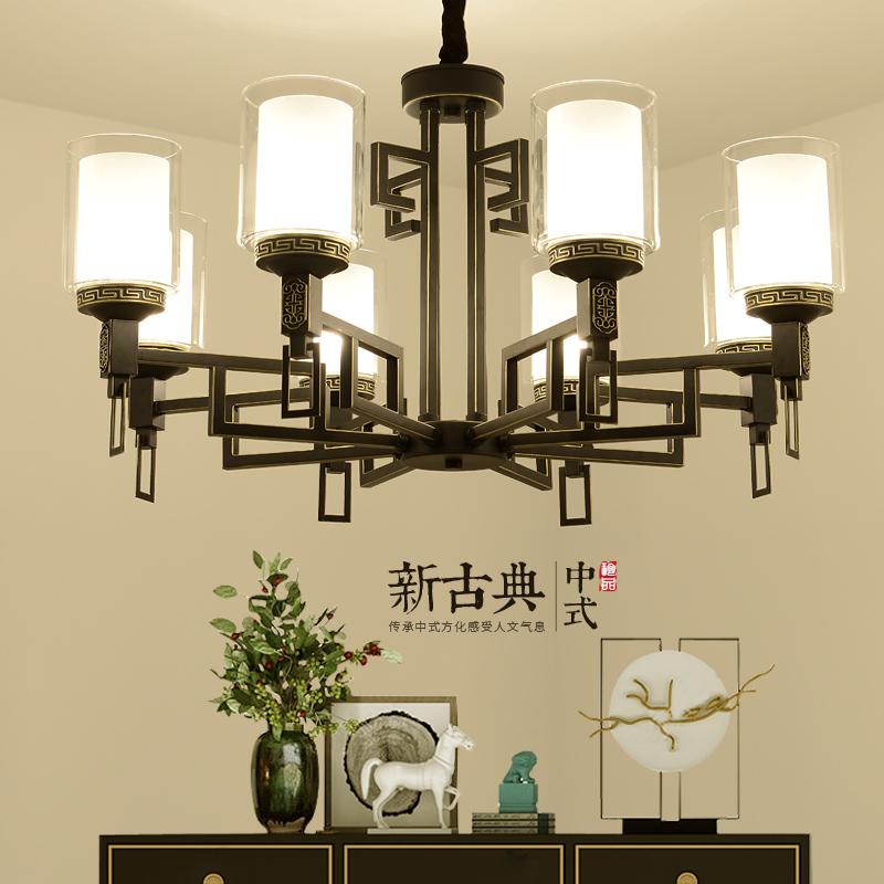 现代新中式吊灯中国风客厅灯具布艺书房卧室铁艺仿古餐厅祥云吊灯