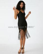 广州服装厂欧美吊带流苏拼接黑色蕾丝连衣裙