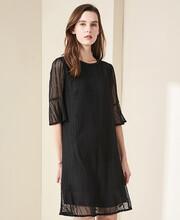 新款潮流女裝貨源絲輝映月苧麻連衣裙圖片