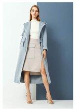歐時力女裝貨源視頻領域連帽雙面羊絨大衣毛呢圖片