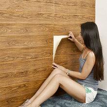 简装专用3d立体墙贴木纹自粘防潮防霉条纹贴纸翻新软包防撞墙壁纸图片
