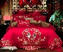 厂家批发婚庆四件套全棉刺绣贡缎提花多件套婚庆全棉家纺床上用品