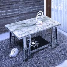 大理石茶几镀钛金不锈钢边几简约现代桌子角几定制