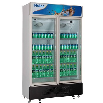 Haier/海爾商用展示柜SC-650G立式雙門冷藏柜雙玻璃門飲料保鮮柜陳列柜