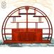 香港二木新中式湖北武汉红木实木定制家具客厅半圆博古架缅甸花梨