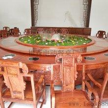 酒店包房专用电动餐桌实木雕花电动餐桌餐厅桌椅供应图片