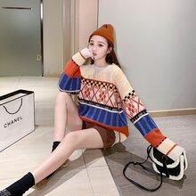 女士粗针加厚款毛线衣女士套头糖果彩色加厚款针织衫厂家销售图片