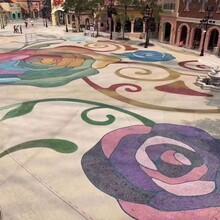 苍溪县彩色聚合物洗砂地坪材料生产砾石地坪包工包料图片