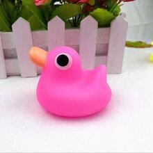 义乌泓智搪胶玩具厂定制六种彩色小黄鸭子戏水捏捏叫发声玩具图片