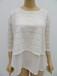 外贸女士纯色7?#20013;?#34174;丝上衣,女士双层蕾丝上衣