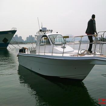 河北海钓俱乐部玻璃钢快艇33尺专业钓鱼船厂家直销
