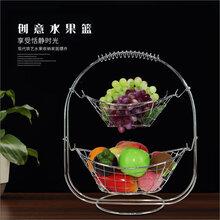 工厂直销新品创意水果篮金属水果盘镂空水果篮双层果篮图片