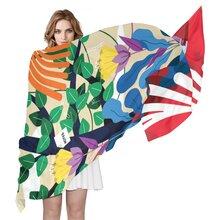 女士滌綸DIY來圖定制絲巾加長圍巾大披肩沙灘巾數碼印花180cm圖片