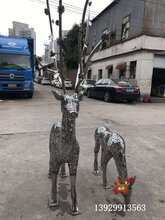 房地产景观雕塑不锈钢镂空梅花鹿雕塑仿真不锈钢动物雕塑厂家