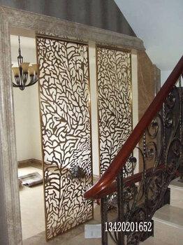客厅背景墙304拉丝玫瑰金抗指纹不锈钢屏风黑钛金不锈钢花格