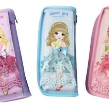 韩国小清新可爱帆布文具袋新款简约文具盒三层大容量小学生用男女创意铅笔盒图片