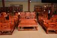 菏泽自然纹理清晰大红酸枝沙发制作精良, 老红木沙发
