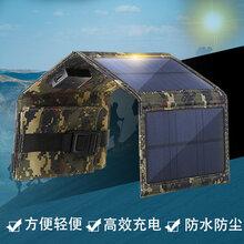深圳直销太阳能板折叠发电板迷彩黑色双USB太阳能折叠包图片