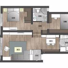 尖草坪区山西拜尔建筑装饰110平米两室两厅一卫混搭风全包无醛家装