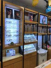 快装模式眼镜展示柜惠州龙门钢木结合眼镜陈列架百变柜台款式图片