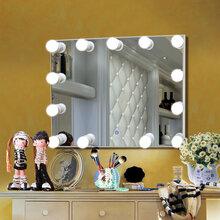 横挂款好莱坞灯泡浴室化妆镜皇家版LED三色切换创意浴室镜修改