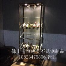 会所不锈钢恒温酒柜、专业货物架、不锈钢酒柜红酒展示柜图片