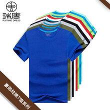 西安工作服团体服厂家批发圆领T恤短袖可定制印刷图文logo图片