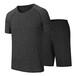 2019夏季新款运动休闲套装阳离子速干圆领短袖套装男士运动品牌