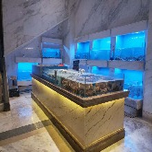 海南酒店大堂观赏鱼缸厨房土建海鲜池不锈钢加玻璃海鲜池定做