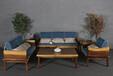 志逸胡桃木实木沙发六件套(含坐垫)
