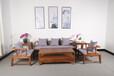 赤几乌金木实木沙发办公桌办公室沙发现代简约六件套
