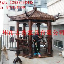 广州碳化木六角凉亭厂家,仿古花园木亭子