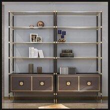 香港现代创意金色不锈钢书架,金色不锈钢书柜定制图片