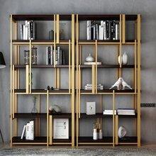 上海现代创意金色不锈钢书架,金色不锈钢书柜定制图片