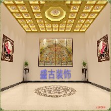 古建吊顶装修寺庙吊顶地宫天花浮雕彩绘天花藏式天花图片