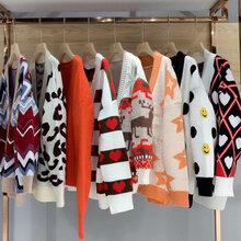 安哥拉开衫外套19秋冬新款女装广州石井品牌折扣女装尾货走份哪家里找实惠图片