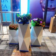 商场简约时尚钻石菱形切面玻璃钢花盆酒店会所绿植仿真花组合花瓶