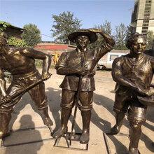 江西仿铜人物玻璃钢雕塑,园林景区农耕主题人像雕塑摆件图片