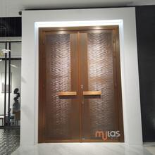 北京、上海高端定制Mulas慕拉斯ML305水波紋銅門、輕奢極簡入戶門圖片
