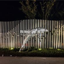 厦门户外不锈钢发光海豚雕塑图片镂空不锈钢大鱼造型新颖