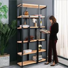 loft铁艺实木置物架工业风展示架客厅办公室书架实木隔断屏风架子厂家