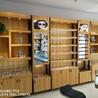 福建泉州陌森眼镜店柜台木纹免漆板立式铁架中岛展示柜