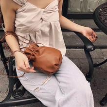 批發真皮斜跨包包女bags新款可愛抽繩小福袋牛皮女包褶皺包包定制圖片