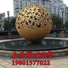 不锈钢发光球彩色镂空球雕塑图片
