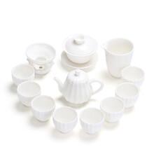新余醉茗尖白瓷茶具批發代理圖片