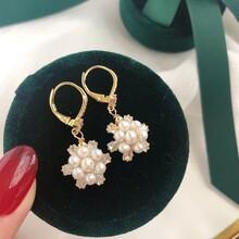 纯白雪绒花??耳环卓伟珍珠进口工艺?施华洛水晶3-4天然珍珠图片