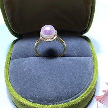 卓伟珍珠18K金钻石珍珠戒指天女akoya8-8.5mm正圆无瑕图片
