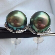 孔雀绿珍珠耳钉10-11mm图片