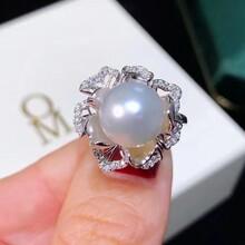 S925纯银戒指淡水珍珠爱迪生11-12mm图片