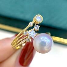 淡水珍珠8-9mmS925纯银戒指图片